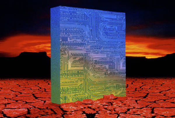 Silicon Valley Wall Art - Photograph - Circuit Board Rising From Desert Landscape by Tony Craddock/science Photo Library