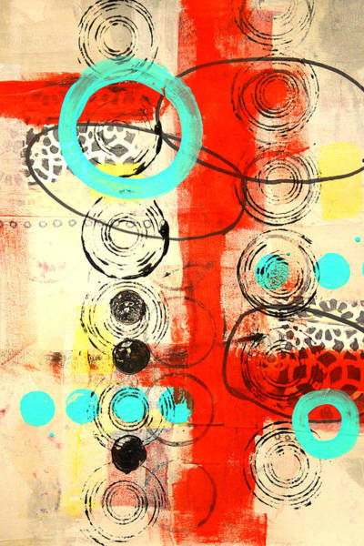 Teal Mixed Media - Circus Abstract Mixed Media Collage by Nancy Merkle