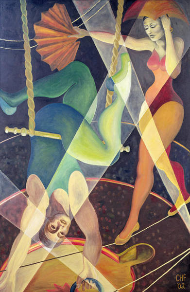 Trapeze Photograph - Circus Heights, 2002 Oil On Canvas by Carolyn Hubbard-Ford