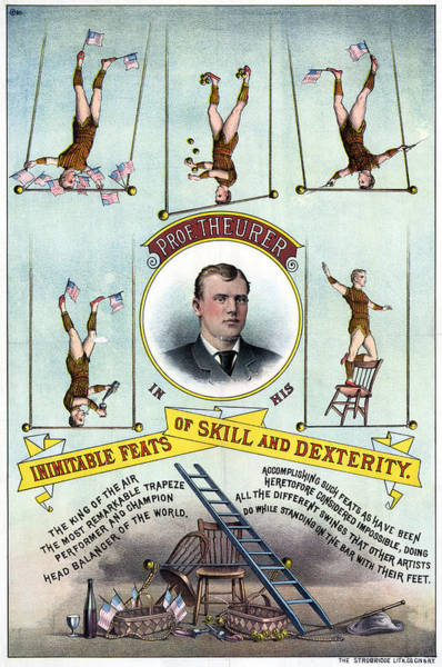 Trapeze Painting - Circus Poster, C1883 by Granger