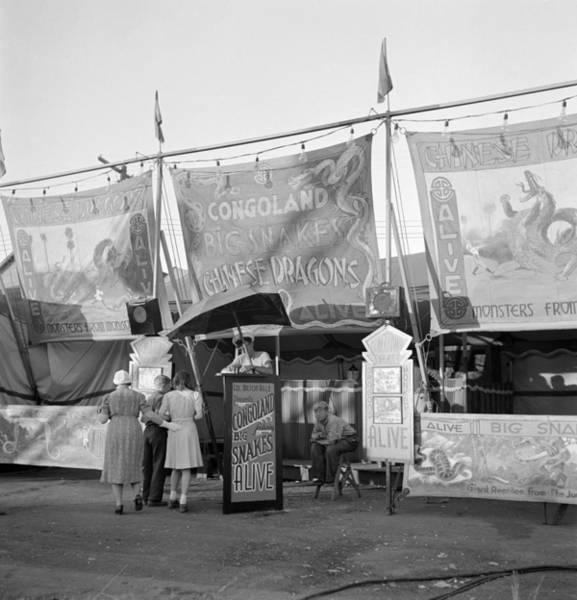 Wall Art - Photograph - Circus Sideshow, 1942 by Granger