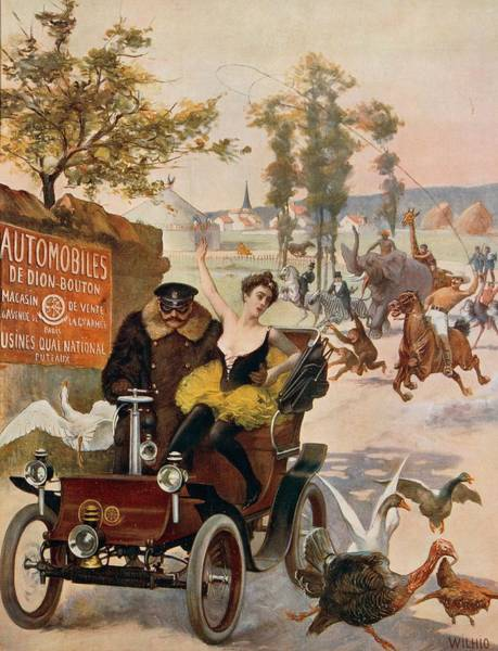Automobile Drawing - Circus Star Kidnapped Wilhio S Poster For De Dion Bouton Cars by Anonymous
