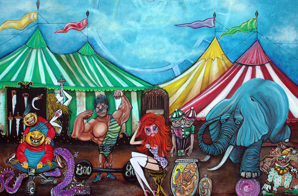 Wall Art - Painting - Cirque De Freaks by Laura Barbosa