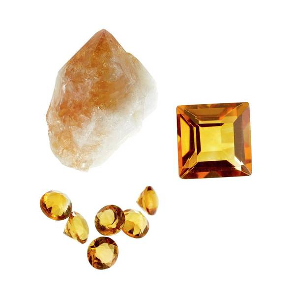 Uncut Photograph - Citrine Gemstones And Crystal by Science Photo Library