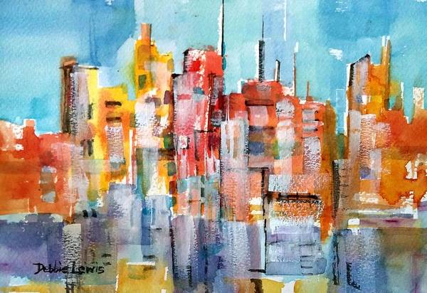 Painting - City Abstraction by Debbie Lewis