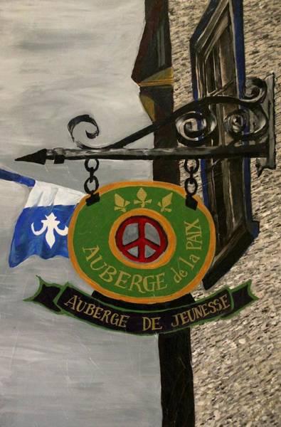 Quebec Flag Painting - City Angles-auberge De La Paix by Nancy Cooper