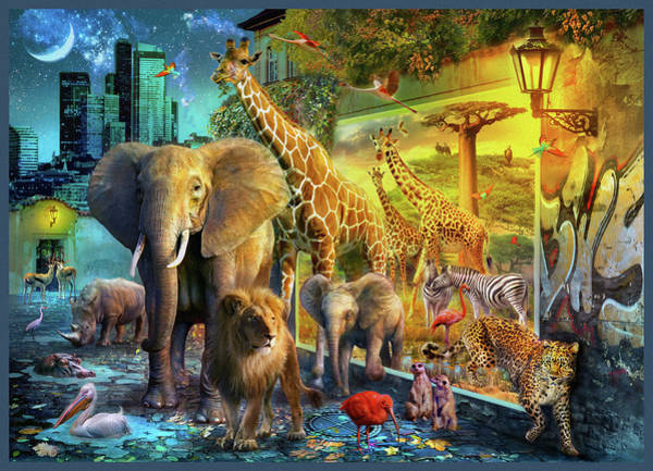 Wall Art - Drawing - City Animals by MGL Meiklejohn Graphics Licensing