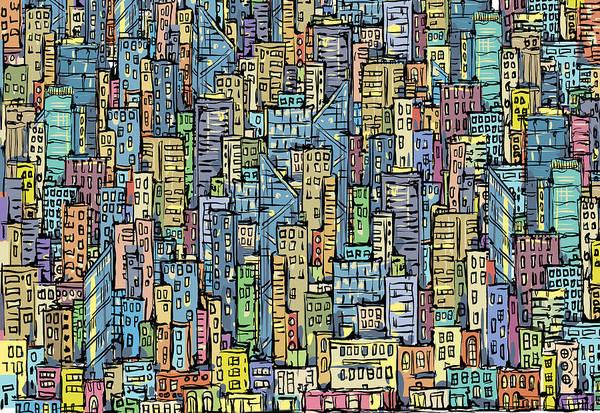 Digital Art - City Background by Dahabian