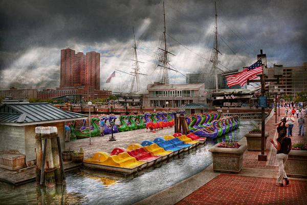 Dragon Boats Wall Art - Photograph - City - Baltimore Md - Modern Maryland by Mike Savad