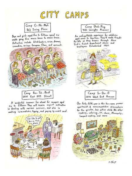 Manhattan Drawing - City Camps by Roz Chast