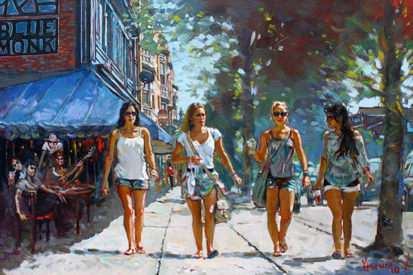 Shopping Painting - City Girls by Ylli Haruni