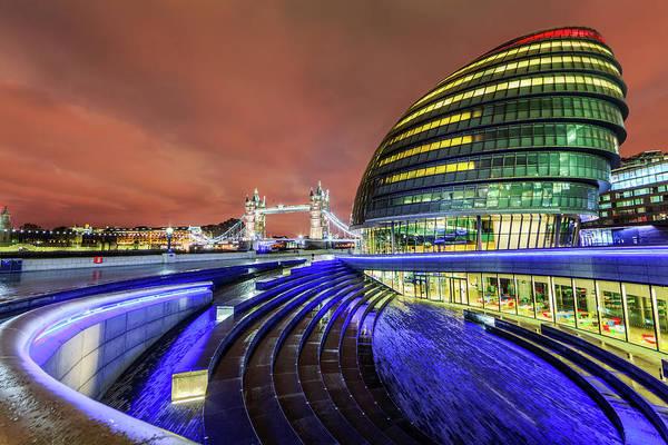 South Bank Photograph - City Hall And Tower Bridge At Night by Joe Daniel Price