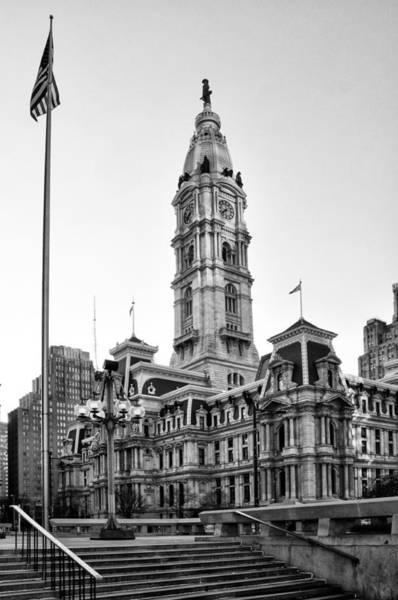 Roms Photograph - City Hall From The Subway Steps In Black And White by Bill Cannon