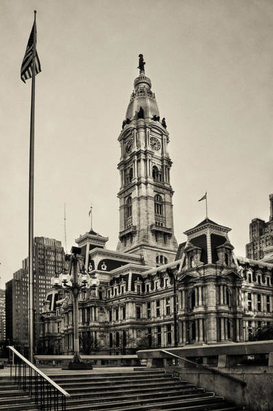 Roms Photograph - City Hall From The Subway Steps In Sepia by Bill Cannon