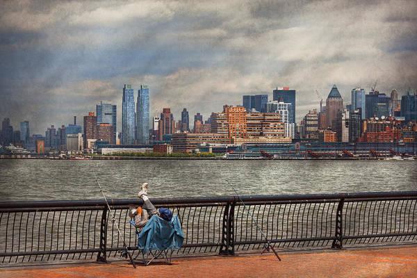 Photograph - City - Hoboken Nj - Fishing - The Good Life  by Mike Savad
