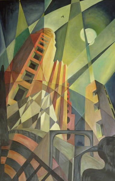 Cubist Wall Art - Photograph - City In Shards Of Light Oil On Canvas by Carolyn Hubbard-Ford