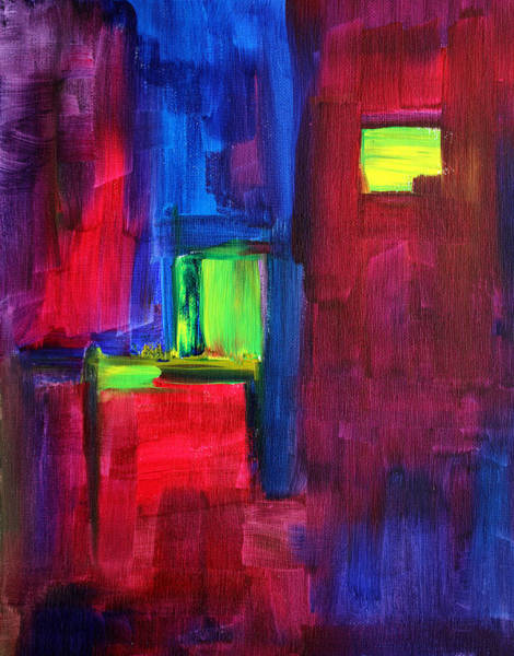 Urban Life Painting - City Life Abstract by Nancy Merkle