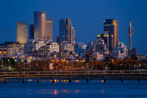 Kaballah Wall Art - Photograph - city lights and blue hour at Tel Aviv by Ron Shoshani