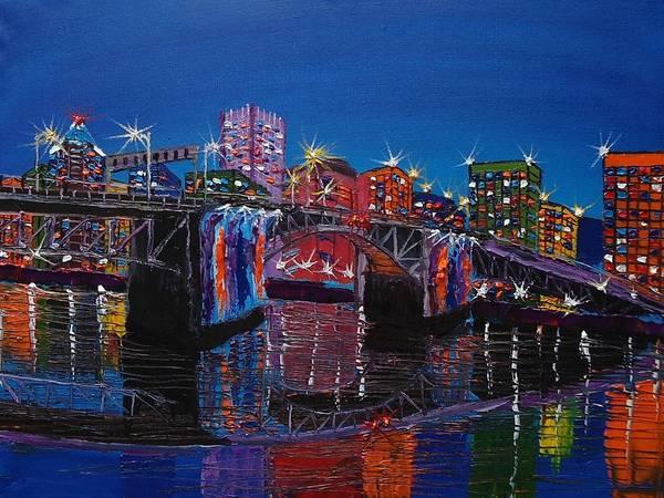 Wall Art - Painting - City Lights Over Morrison Bridge 4 by Dunbar's Modern Art