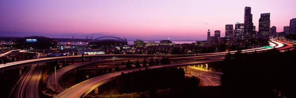 Safeco Field Photograph - City Lit Up At Dusk, Seattle, King by Panoramic Images