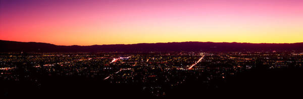 Silicon Valley Wall Art - Photograph - City Lit Up At Dusk, Silicon Valley by Panoramic Images