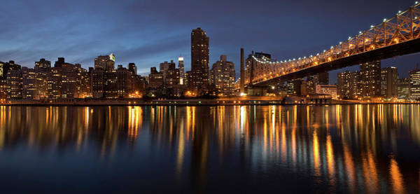 Roosevelt Island Wall Art - Photograph - City Lit Up At Night, Queensboro by Panoramic Images
