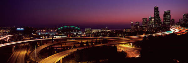 Safeco Field Photograph - City Lit Up At Night, Seattle, King by Panoramic Images