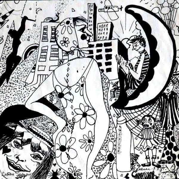 Semi Abstract Drawing - City Livin' Mamma by Leanne Seymour