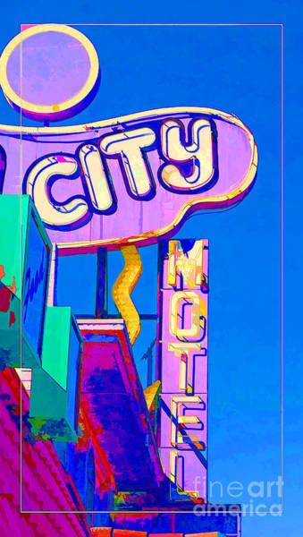 Photograph - City Motel Old Neon Sign Las Vegas Oil by Edward Fielding