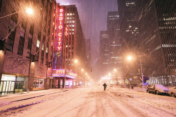 Radio City Music Hall Photograph - City Night In The Snow - New York City by Vivienne Gucwa