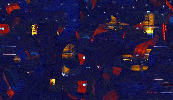Painting - City Night by RC DeWinter