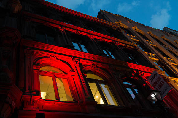 Photograph - City Night Walks - Bright Red Facade by Georgia Mizuleva