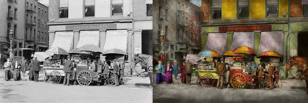 Call Building Photograph - City - Ny - Lunch Carts On Broadway St Ny - 1906 - Side By Side by Mike Savad