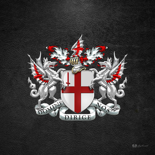 Digital Art - City Of London - Coat Of Arms Over Black Leather  by Serge Averbukh