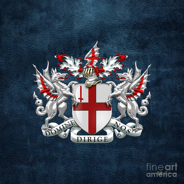 Square Mile Wall Art - Digital Art - City Of London - Coat Of Arms Over Blue Leather  by Serge Averbukh