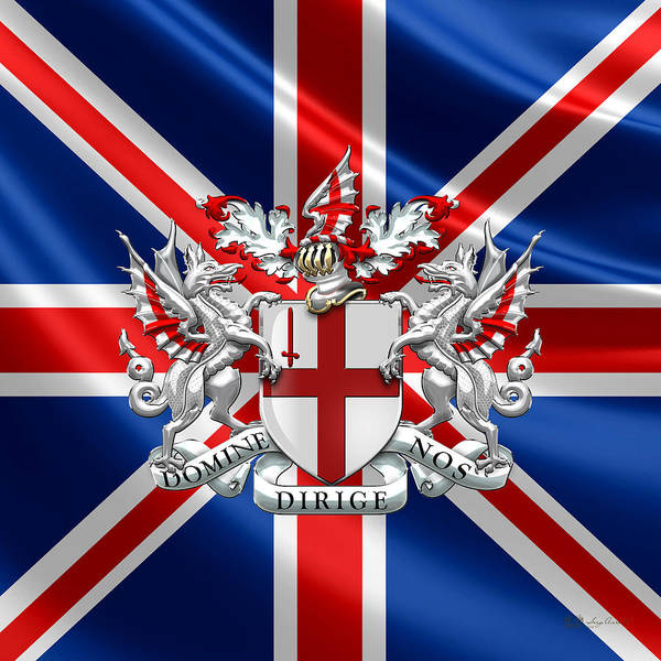Square Mile Wall Art - Digital Art - City Of London - Coat Of Arms Over Uk Flag  by Serge Averbukh