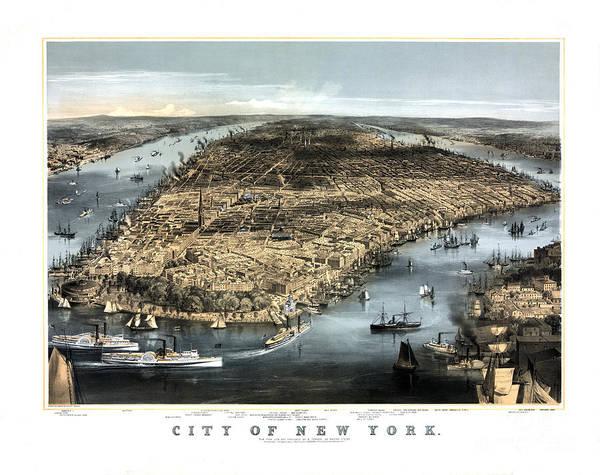 New York City Map Drawing - City Of New York - 1856 by Pablo Romero