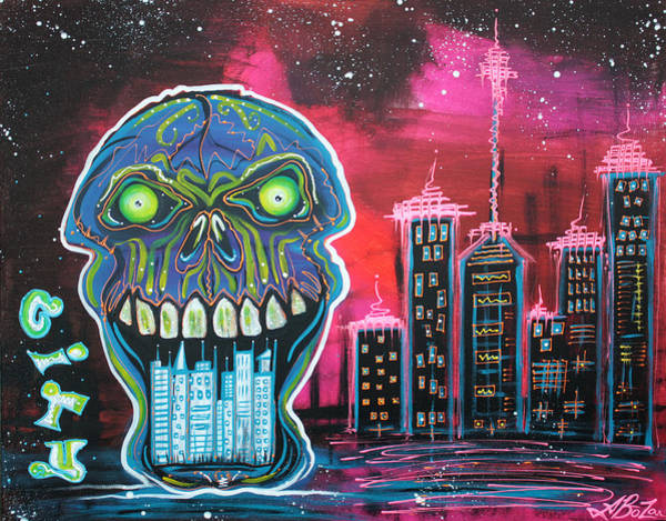 Neon Pink Painting - City Of Strange by Laura Barbosa