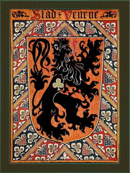 Digital Art - City Of Veurne Belgium Medieval Coat Of Arms  by Serge Averbukh