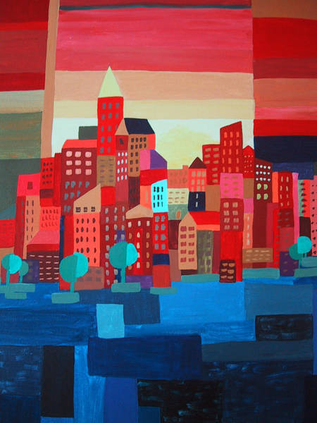 Wall Art - Painting - City On The Bay by Barbara Remensnyder