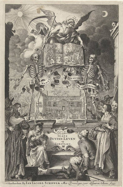 Judgement Wall Art - Drawing - City People And Peasants Watching Two Skeletons And Angel by Cornelis Van Dalen Ii And Jan Jacobsz Schipper