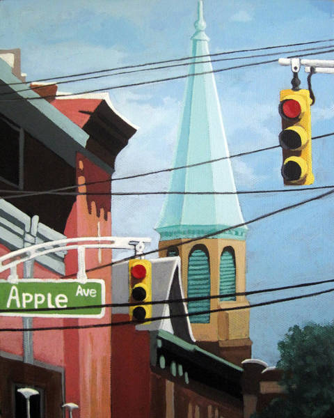Wall Art - Painting - City Power Architecture High Wires City Tower by Linda Apple