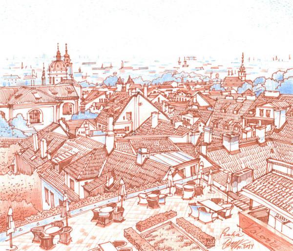 Tile Drawing - City. Prague by Olga Sorokina