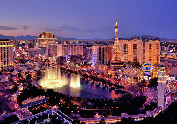 Bellagio Hotel Photograph - City Skyline At Night With Bellagio by Rebeccaang