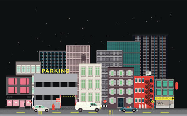 Parking Garage Digital Art - City Street, Vehicles And Parking by Robert Hanson