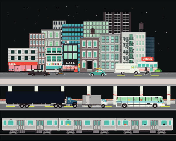 Truck Digital Art - City Street With Various Modes Of by Robert Hanson