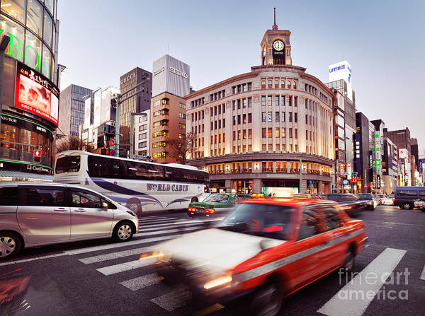 Ginza Wall Art - Photograph - City Traffic In Tokyo Ginza Near Wako Department Store by Maxim Images Prints