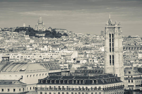 Sacred Heart Photograph - City With St. Jacques Tower by Panoramic Images
