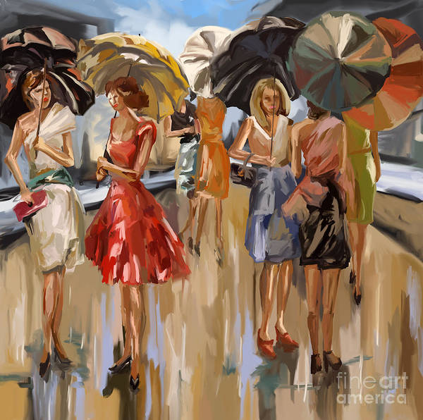 Walking In The Rain Wall Art - Painting - City Women In The Rain by Tim Gilliland