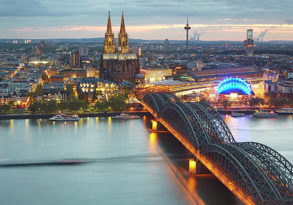 Rhine River Photograph - Cityscape Of Cologne With Cologne by Allan Baxter